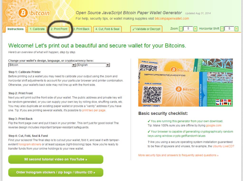 bitcoin paper wallet generate