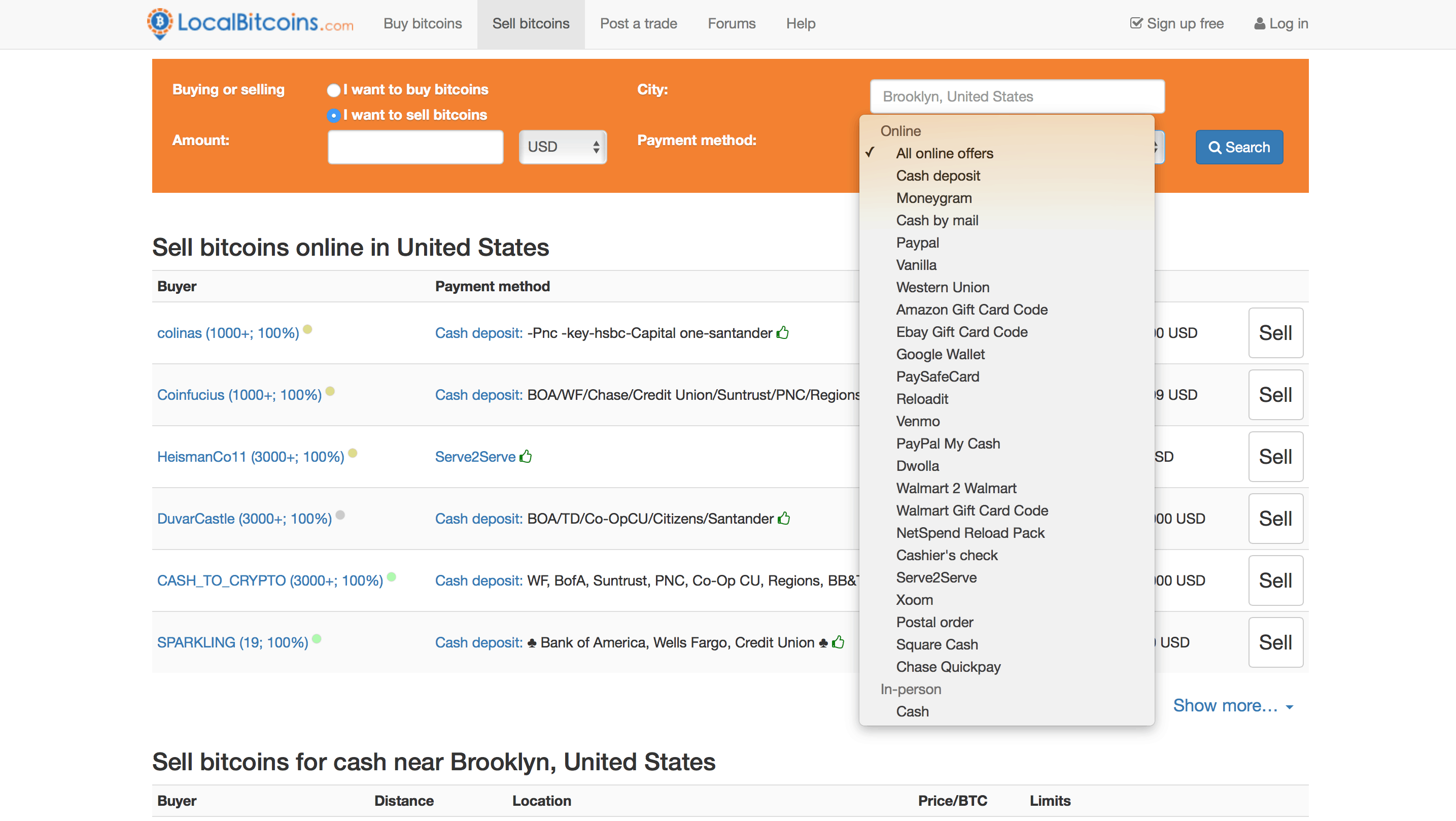 payment forms accepted on localbitcoin