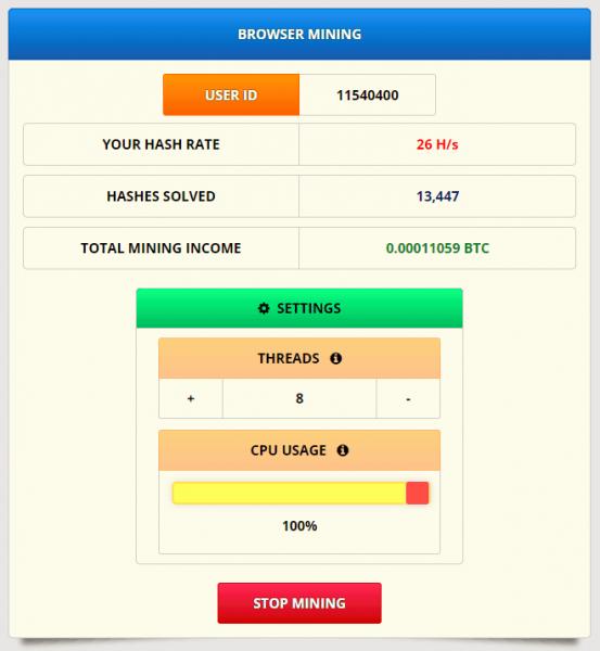 Freebitco.in browser mining